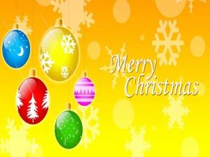 Bolas de colores y ¡Feliz Día de Navidad!