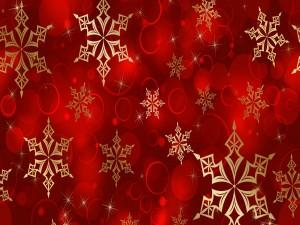 Postal: Copos de nieve dorados en fondo rojo
