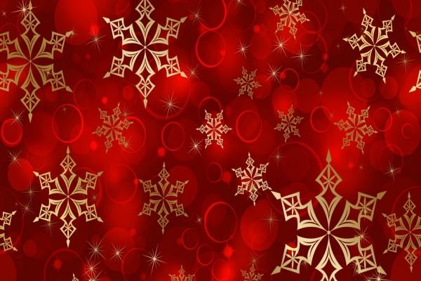 Bolas De Navidad Rojas Sobre Fondo Verde: Copos De Nieve Dorados En Fondo Rojo (50911