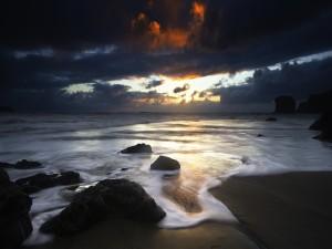Postal: Amanece en la playa