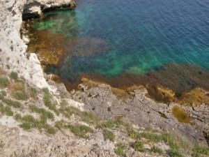Postal: Los colores del mar junto a la costa