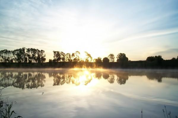 El sol brillando en el agua del río