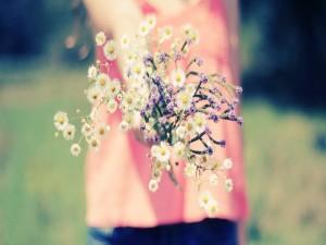Postal: Te entrego un ramo de flores recién cortadas
