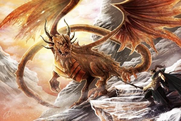 Un gran dragón enfurecido mirando al arquero