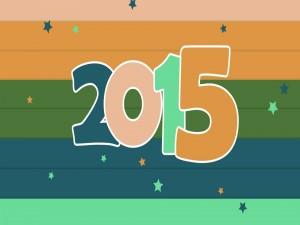 Postal: Año Nuevo 2015 con números de colores