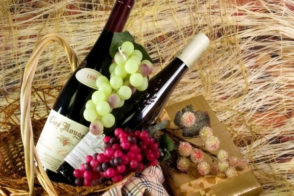 Dos botellas de vino en una cesta