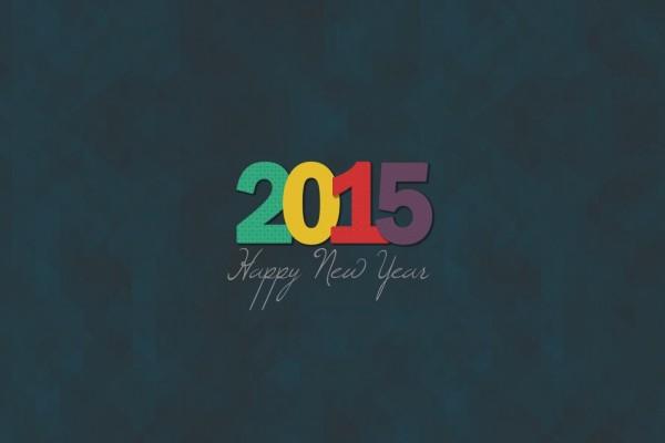 ¡Feliz Año Nuevo 2015! de colores en fondo oscuro