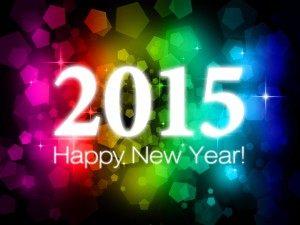 Postal: Colorido fondo para felicitar el Año Nuevo 2015