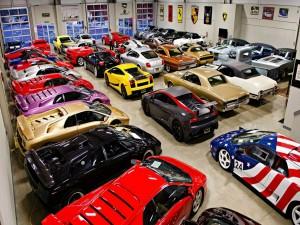 Postal: Exposición de coches