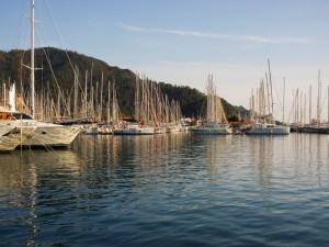 Postal: Barcos de vela en el puerto