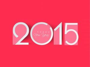 Postal: Feliz Año Nuevo 2015 en fondo rosa