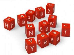 Cubos rojos de ¡Feliz Año Nuevo!