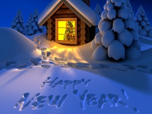 Postal: ¡Feliz Año Nuevo! escrito en la nieve