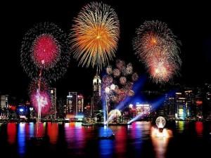 Postal: Fuegos artificiales de Año Nuevo