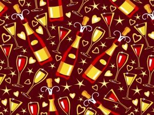 Postal: Imagen con estrellas, corazones, copas y botellas para festejar el Año Nuevo