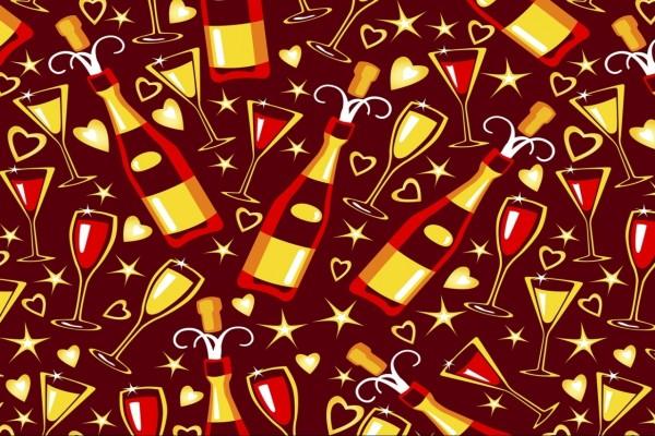 Imagen con estrellas, corazones, copas y botellas para festejar el Año Nuevo