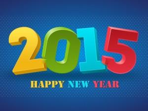 Postal: Feliz Año Nuevo 2015 en letras de colores