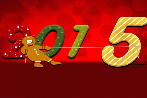 Arrastrando al número cinco para que dé comienzo el Nuevo Año 2015