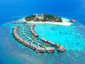 Bello complejo turístico en una isla