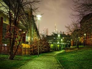Jardín verde en la noche de la ciudad