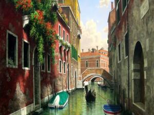 Pintura de un gondolero en un canal de Venecia
