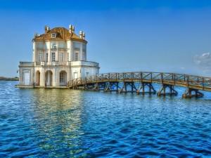 Puente de madera sobre el agua