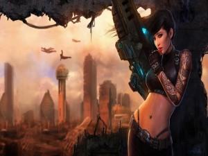 Mujer en una ciudad en guerra