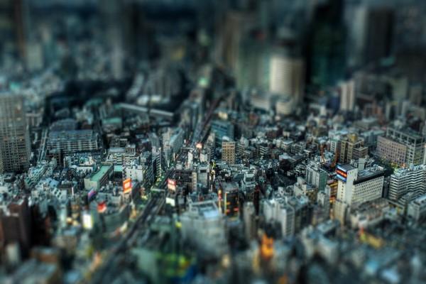 Vista en miniatura de una gran ciudad