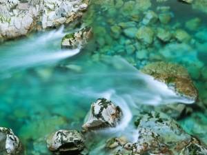 Corriente entre las piedras del río
