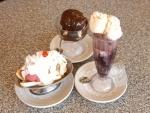 Tres postres diferentes a base de helado