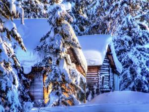 Postal: Cabañas de madera cubiertas de nieve