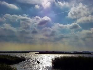 Postal: Nubes en un cielo soleado