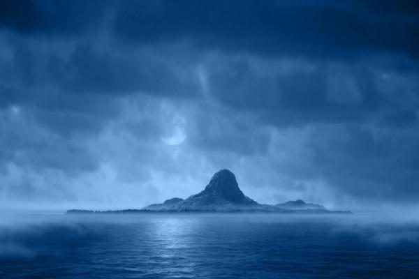 Gran roca en una isla