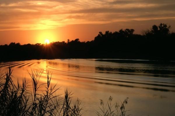 El sol del atardecer iluminando el agua