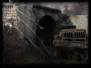 Calendario y un coche abandonado