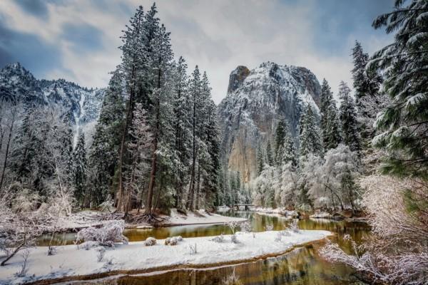 Río, montañas y árboles nevados en Estados Unidos