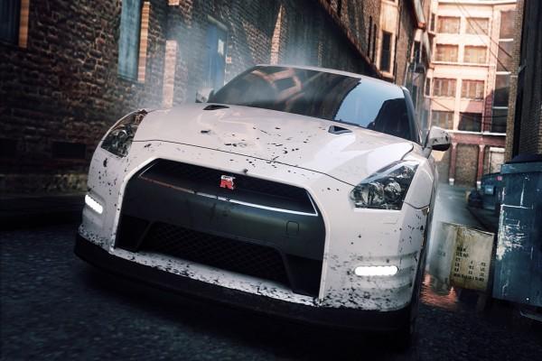 Un coche blanco con manchas negras en un estrecho callejón