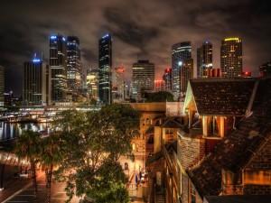 Edificios iluminados de la ciudad de Sydney