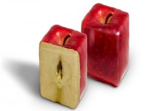 Manzanas en forma de cubo