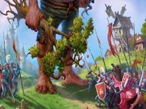 Postal: Gigante atacando la aldea