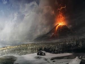 Postal: Volcán en erupción