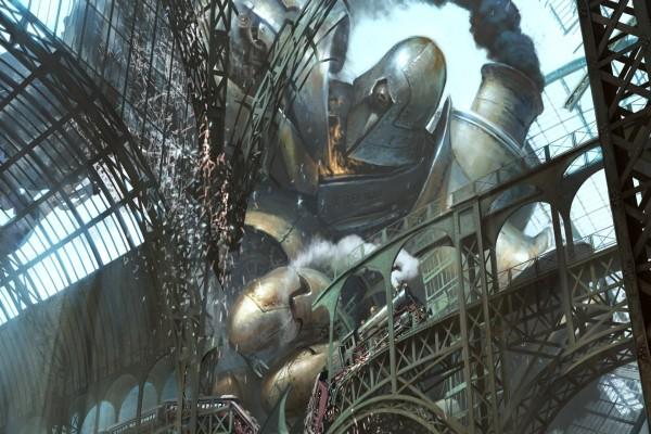 Robot gigante destruyendo la ciudad