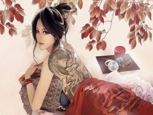 Postal: Mujer oriental con un dragón tatuado en la espalda