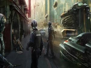 Postal: Agentes de policía en una ciudad futurista