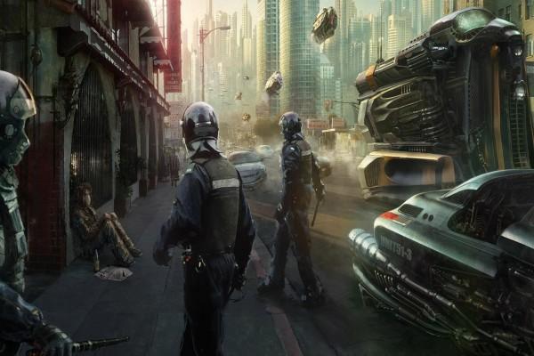 Agentes de policía en una ciudad futurista