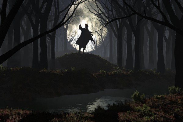 Jinete diabólico en el bosque
