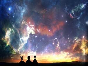 Cielo colorido al caer la noche