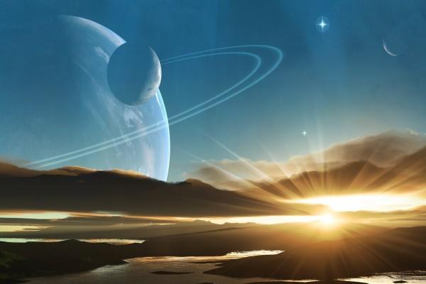 Puesta de sol en un extraño planeta