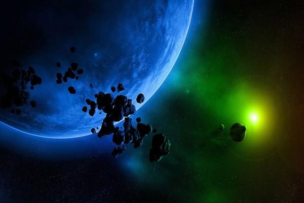 Asteroides flotando en el espacio