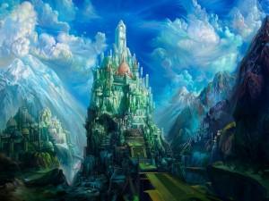 Gran castillo en una montaña